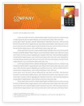 Cellular Phone In Orange Colors Letterhead Template, 04021, Telecommunication — PoweredTemplate.com