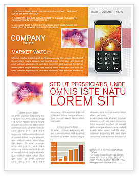 Telecommunication: Cellular Phone In Orange Colors Newsletter Template #04021