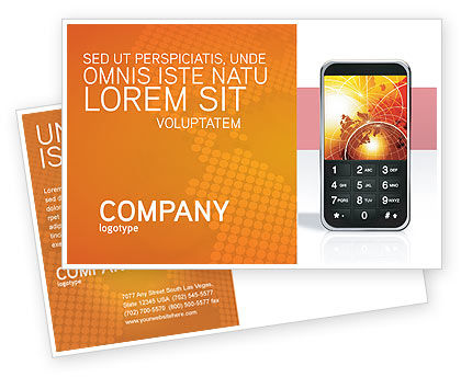 Telecommunication: Cellular Phone In Orange Colors Postcard Template #04021