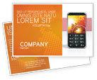 Telecommunication: Cellular Phone In Orange Colors Postcard Template #04021