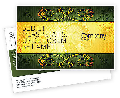 Dollar In Yellow Postcard Template, 04022, Financial/Accounting — PoweredTemplate.com