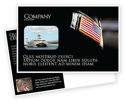 Military: American Armed Forces Postcard Template #04026