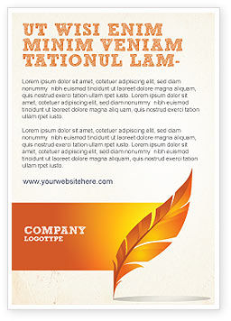Art & Entertainment: Feather In Orange Color Ad Template #04049