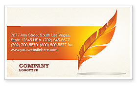 Art & Entertainment: Feather In Orange Color Business Card Template #04049
