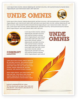 Feather In Orange Color Flyer Template, 04049, Art & Entertainment — PoweredTemplate.com