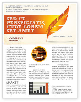Art & Entertainment: Feather In Orange Color Newsletter Template #04049
