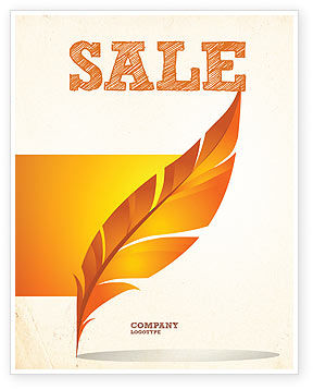 Art & Entertainment: Feather In Orange Color Sale Poster Template #04049