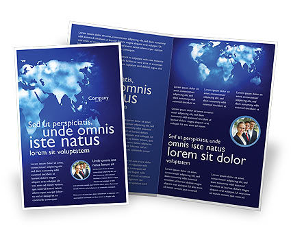 Wide World Blue Map Brochure Template, 04050, Global — PoweredTemplate.com