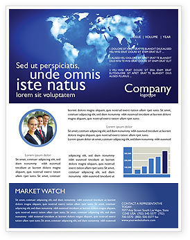 Wide World Blue Map Newsletter Template, 04050, Global — PoweredTemplate.com