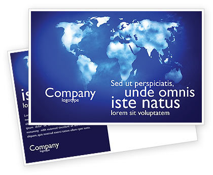 Global: Wide World Blue Map Postcard Template #04050