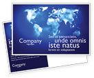 Global: Wide World Blue Map Postcard Template #04050
