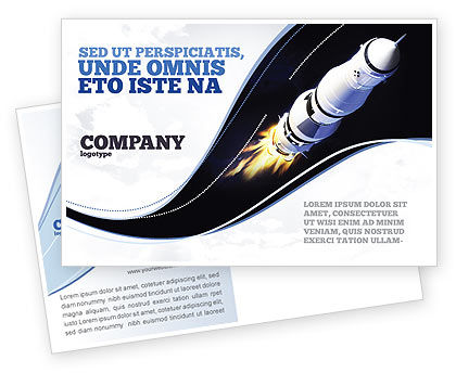 Technology, Science & Computers: Space Ship Postcard Template #04051