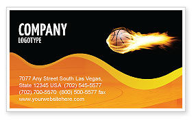Sports: Flaming Basketball Business Card Template #04054