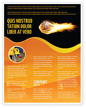 Sports: Flaming Basketball Flyer Template #04054