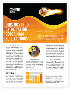 Sports: Flaming Basketball Newsletter Template #04054