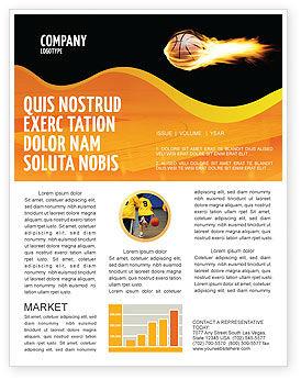 Sports: Modèle de Newsletter de basketball en flammes #04054