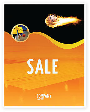 Sports: Flaming Basketball Sale Poster Template #04054