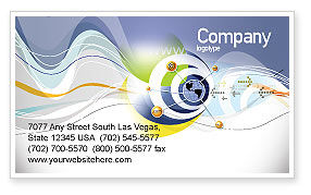 Telecommunication: Communication Network Business Card Template #04058