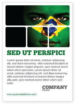 Flags/International: Gezicht Van Brazilië Advertentie Template #04059