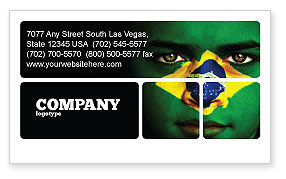 Flags/International: Face Of Brazil Business Card Template #04059