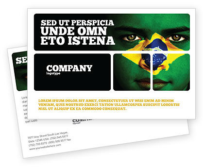 Face Of Brazil Postcard Template, 04059, Flags/International — PoweredTemplate.com
