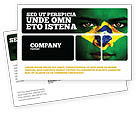 Flags/International: Face Of Brazil Postcard Template #04059