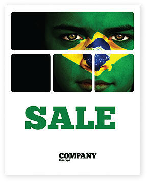 Flags/International: Face Of Brazil Sale Poster Template #04059