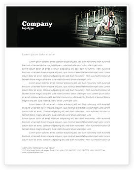 Economic Crisis Letterhead Template, 04061, People — PoweredTemplate.com