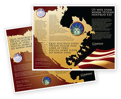 Old Glory USA Flag Brochure Template, 04083, America — PoweredTemplate.com