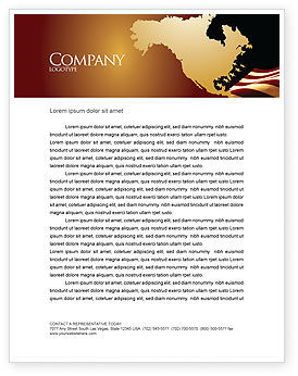 Old Glory USA Flag Letterhead Template, 04083, America — PoweredTemplate.com