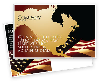 America: Old Glory USA Flag Postcard Template #04083