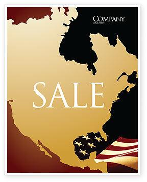 America: 포스터 템플릿 - 올드 영광 미국 국기 #04083