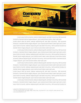Construction: Skyline Of A City Letterhead Template #04096