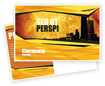 Skyline Of A City Postcard Template, 04096, Construction — PoweredTemplate.com