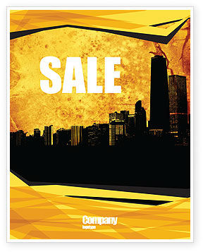 Skyline Of A City Sale Poster Template, 04096, Construction — PoweredTemplate.com