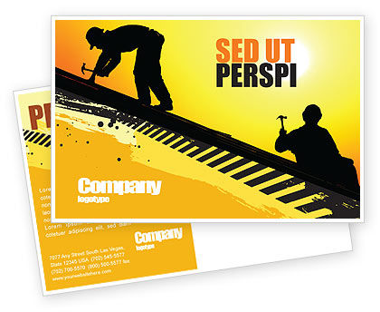 Roof Workers Postcard Template, 04101, Careers/Industry — PoweredTemplate.com
