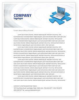 Technology, Science & Computers: Laptop Data Letterhead Template #04108