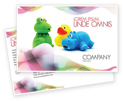 Stuffed Toys Postcard Template, 04109, Education & Training — PoweredTemplate.com