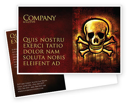 Military: Pirate Sign Postcard Template #04124