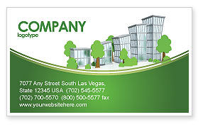 Construction: Green District Business Card Template #04147