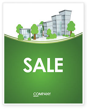 Green District Sale Poster Template, 04147, Construction — PoweredTemplate.com