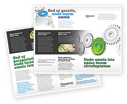 Business Concepts: Pinion Transmission With Lead Gear Brochure Template #04154