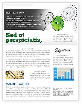 Business Concepts: Pinion Transmission With Lead Gear Newsletter Template #04154