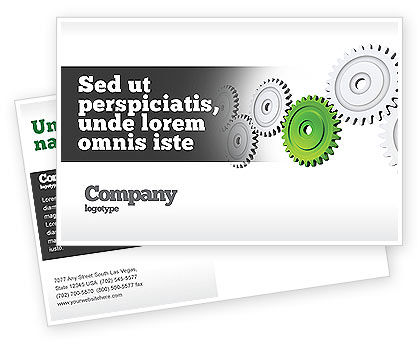 Business Concepts: Pinion Transmission With Lead Gear Postcard Template #04154