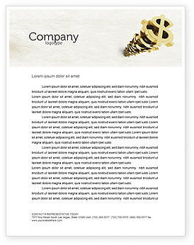 Financial/Accounting: Stack Of Dollar Letterhead Template #04160