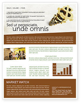 Stack Of Dollar Newsletter Template, 04160, Financial/Accounting — PoweredTemplate.com
