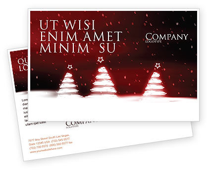 Fir Tree Theme Postcard Template, 04165, Holiday/Special Occasion — PoweredTemplate.com