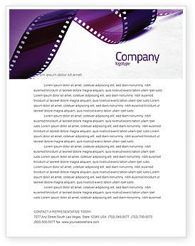 Careers/Industry: Film Strip In Purple Color Letterhead Template #04168
