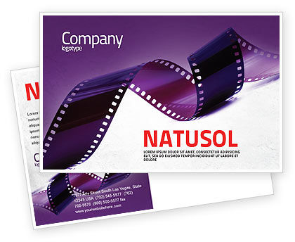 Film Strip In Purple Color Postcard Template