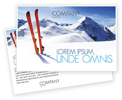 Skis Postcard Template, 04169, Sports — PoweredTemplate.com